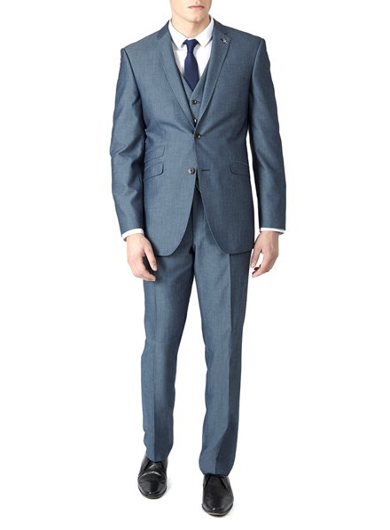 Burton 3 Piece Chambray Slim Fit Suit