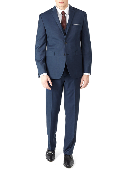 Burton 2 Piece Blue Textured Tailored Fit Suit