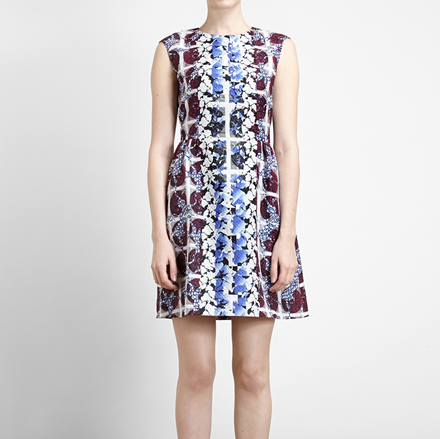 Peter Pilotto Printed Textured Silk Dress