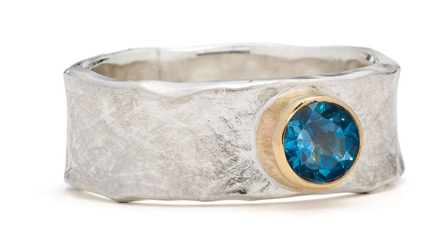 Alison Moore Blue Topaz, Silver and Gold Storybook Ring