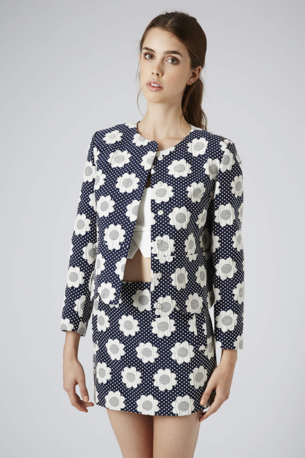 Topshop Flower Power Crop Jacket