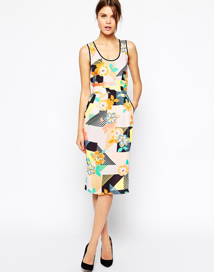 Warehouse '80s Floral Midi Dress