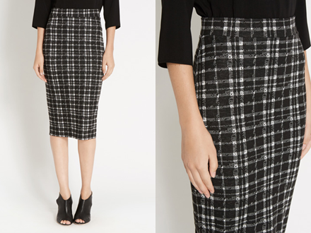 Black and White Tartan Tube Skirt from Oasis