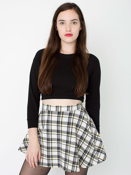 Black and Yellow Tartan A-line Circle Skirt from American Apparel