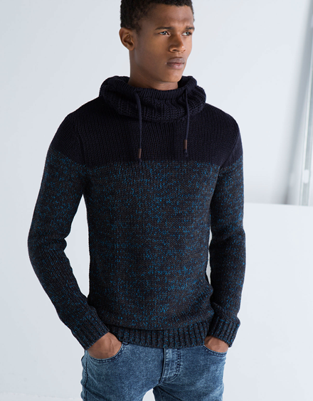 Men's Hooded Two-tone Jumper from Bershka