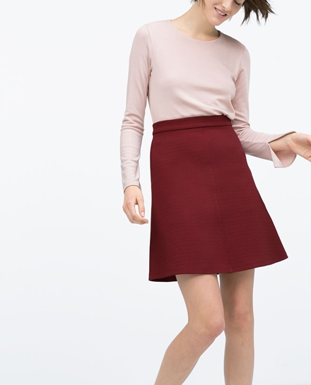 Burgundy A-line Woven Skirt by Zara